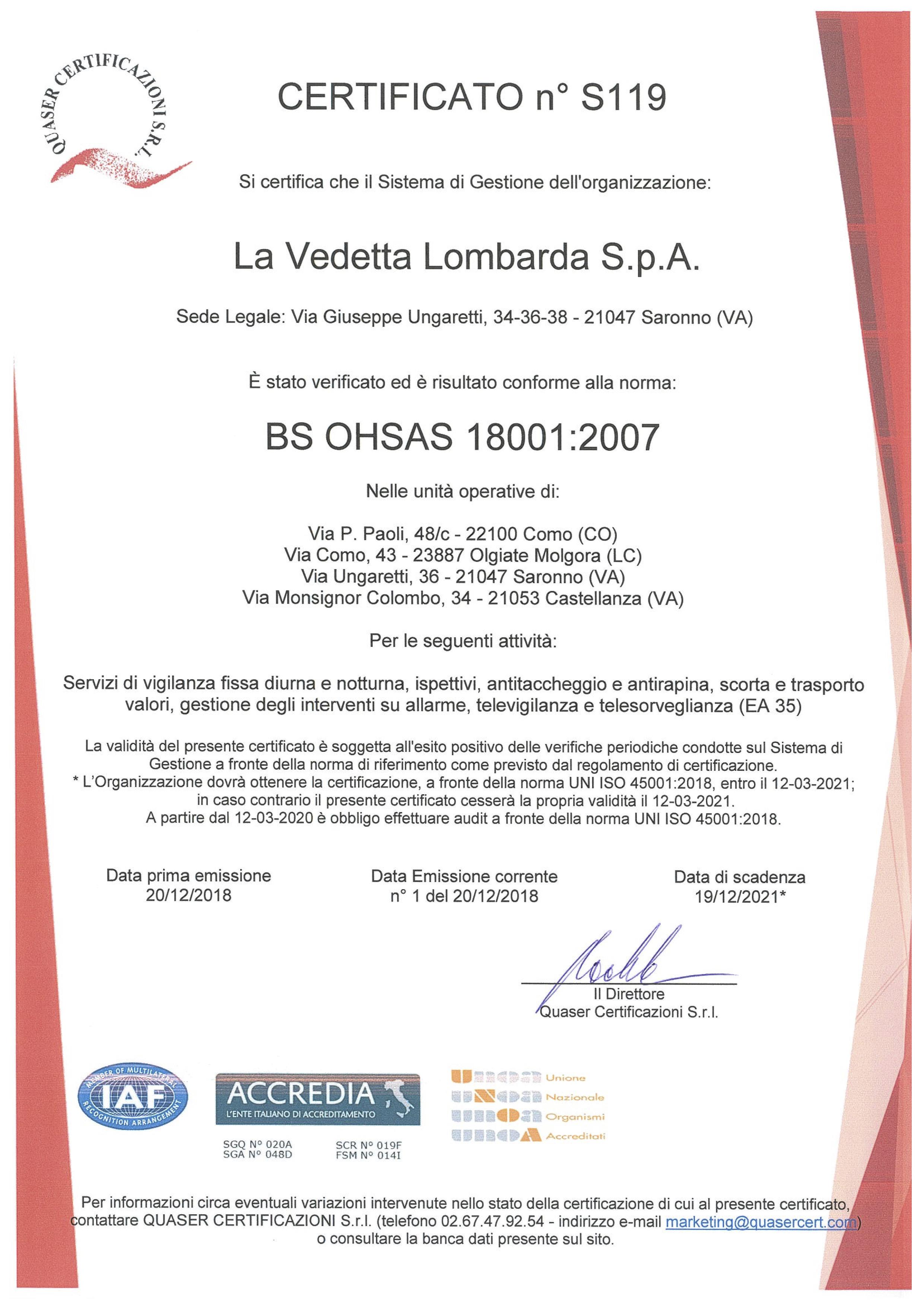 originale certificato 18001 em 1